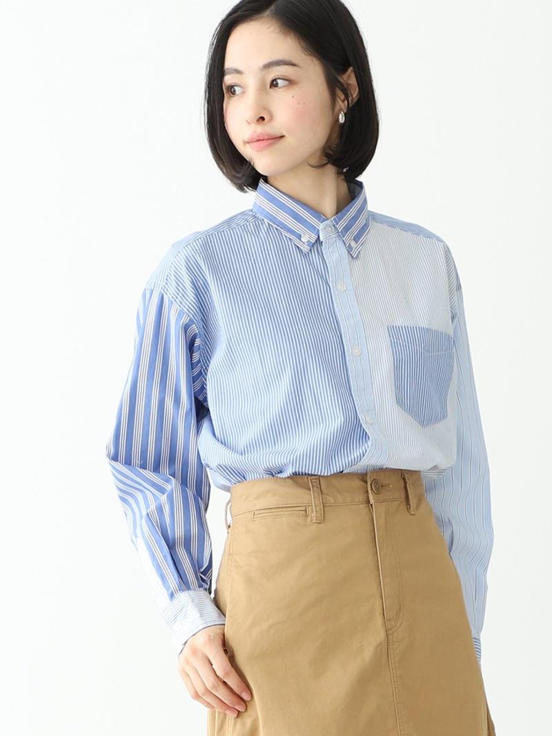 [Rakuten Fashion]BEAMS BOY / コットン ローン クレイジー ボタンダウン シャツ BEAMS BOY ビームス ウイメン シャツ/ブラウス 長袖シャツ ブルー グリーン【送料無料】