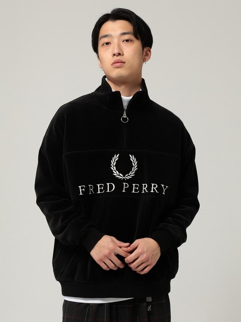 [Rakuten BRAND AVENUE]FRED PERRY × BEAMS / 90'sロゴ ベロア ハーフジップ ビームス メン カットソー【先行予約】*【送料無料】