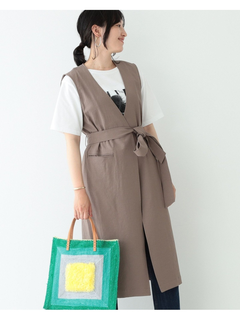 [Rakuten Fashion]BEAMS LIGHTS / リネン混 ドライ オックス ジレ ビームス BEAMS LIGHTS ビームスライツ ニット カーディガン ブラウン グレー【送料無料】