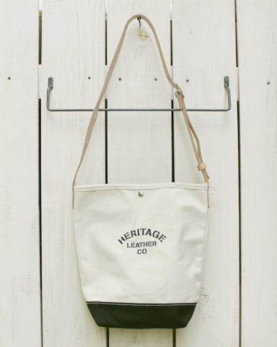 Heritage Leather Co. Bucket Shoulder Bag 18oz canvas leather Natural Black ヘリテージ レザー バケット ショルダー バック キャンバス レザーストラップ ナチュラル ブラック / 8105 MADE IN USA アメリカ製 heritage