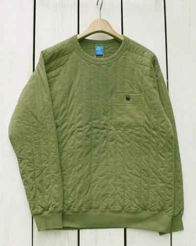 Good On Padded Crew Shirts / sweat quilt pocket Olive overdye グッドオン パデッド クルー シャツ / キルト スウェット ポケット 長袖 オリーブ 製品染め / men made in japan 日本製 goodon good on