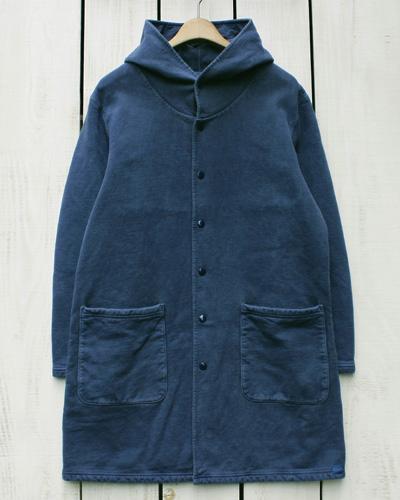 Good On Hood Coat / sweat napp fleece baby jersey Navy Pigment グッドオン グットオン スウェット フード コート 裏地付き ひざ上 ロング ネイビー 紺 製品染め 日本製 goodon