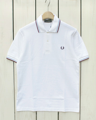 Fred Perry Twin Tipped Fred Perry Shirt / polo pique / 120 White Ice Maroon フレッド ペリー 2本ライン フレッドペリー シャツ / ポロ 半袖 ピケ 鹿の子 / ホワイト アイス マルーン made in England 英国製 fred M12N m12n