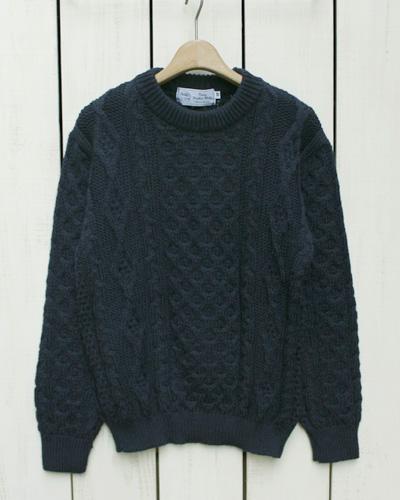 Kerry Woollen Mills Aran Cable Crew Neck Sweater Navy / solid ケリー ウーレンミルズ アランニット ケーブル クルーネック セーター ネイビー / kerry made in UK イギリス製 英国製 england factory 定番