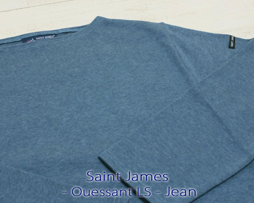 Saint James Ouessant Long sleeve boatneck solid Jean / mix セント ジェームス ウエッソン / 長袖 無地 ボートネック 厚手 インディゴ 杢 made in France フランス製 saintjames french marine