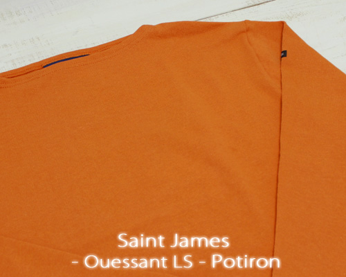 Saint James Ouessant Long sleeve boatneck solid Potiron セント ジェームス ウエッソン / 長袖 無地 ボートネック 厚手 オレンジ made in France フランス製 saintjames french marine