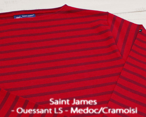 Saint James Ouessant Long sleeve boatneck border Medoc Cramoisi セント ジェームス ウエッソン / 長袖 ボーダー ボートネック 厚手 レッド ボルドー made in France フランス製 saintjames french marine