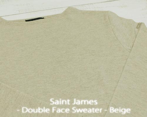 Saint James Double Face Sweater / wool cotton Beige セント ジェームス ダブルフェイス セーター / 長袖 無地 ウール コットン 定番 ベージュ ミックス フランス製 saintjames unisex marine