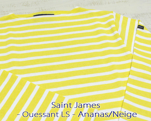 Saint James Ouessant Long sleeve boatneck border Ananas Neige セント ジェームス ウエッソン / 長袖 ボーダー ボートネック 厚手 イエロー ホワイト 定番 made in France フランス製 saintjames french marine