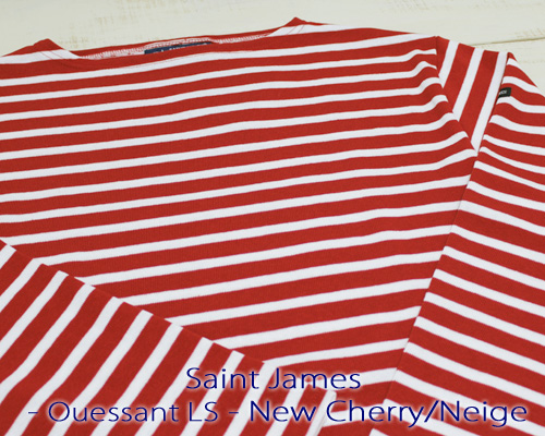 Saint James Ouessant Long sleeve boatneck border NewCherry Neige セント ジェームス ウエッソン / 長袖 ボーダー ボートネック 厚手 レッド ホワイト 定番 made in France フランス製 saintjames french marine