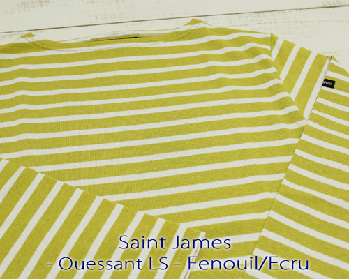 Saint James Ouessant Long sleeve boatneck border Fenouil Ecru セント ジェームス ウエッソン / 長袖 ボーダー ボートネック 厚手 マスタード 生成り 定番 made in France フランス製 saintjames french marine