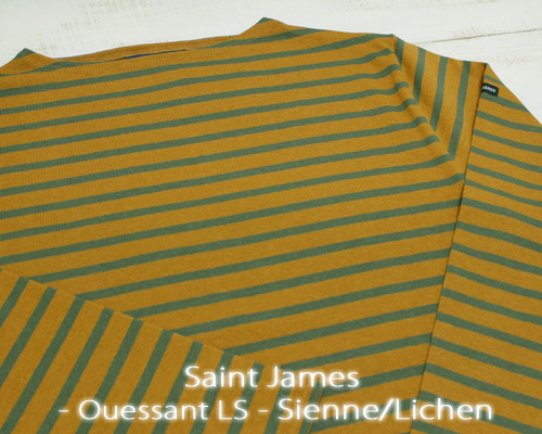Saint James Ouessant Long sleeve boatneck border Sienne Lichen セント ジェームス ウエッソン / 長袖 ボーダー ボートネック 厚手 オーク カーキ 定番 made in France フランス製 saintjames french marine