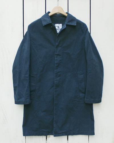 V.D.L.C / vdlc Cotton Herringbone Dress Coat Dk Navy / overdye ブイディーエルシー コットン ヘリンボーン ドレス コート きれいめ 比翼 ロング丈 濃紺 ダークネイビー / 後染め made in japan 日本製 vdlc