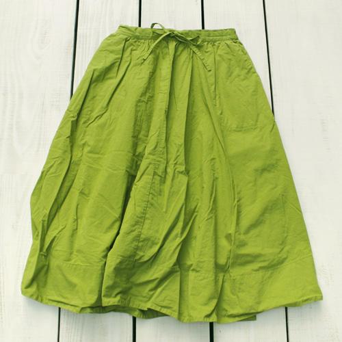 V.D.L.C Cotton Linen Flared Skirt Wakakusa / overdye ブイディーエルシー コットン リネン フレア スカート 裏地付き 紐&ゴム ウエスト 若草 薄緑 後染 made in japan 日本製 vdlc フレアスカート ロング