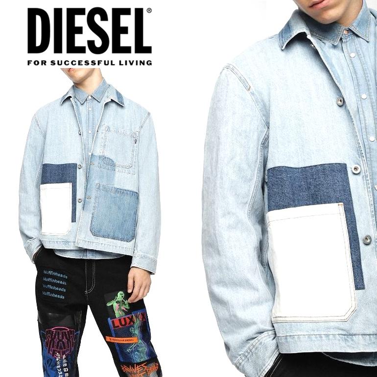 DIESEL ディーゼル メンズ 長袖 デニムジャケットD-KIM 85AN L/S DENIM JACKETシャツジャケット カジュアル パッチワーク ブルゾン