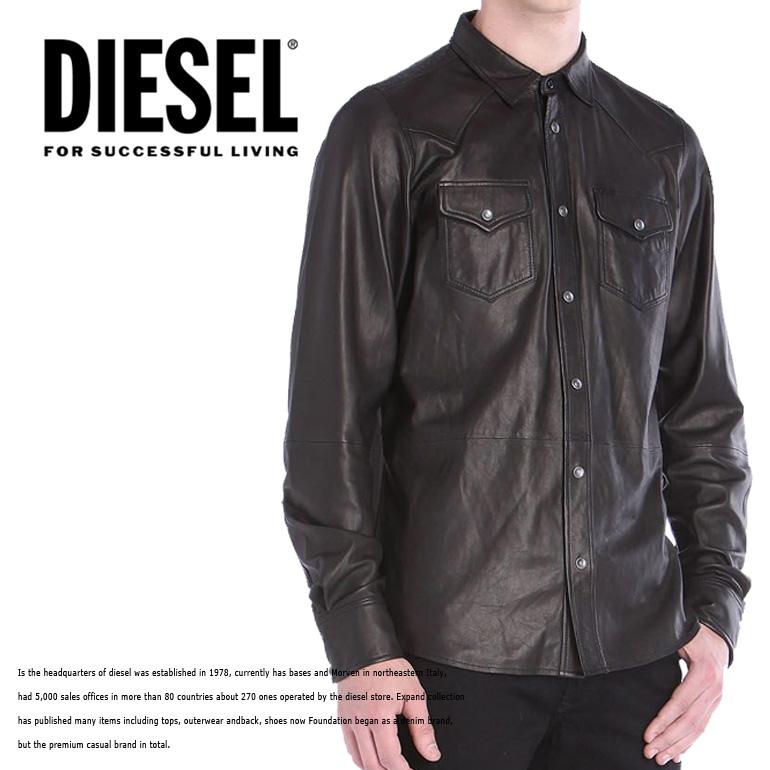 ディーゼル メンズ DIESEL レザーシャツ 長袖シャツ トップスL-SONORA 革 羊革 インスタ映え オシャレ