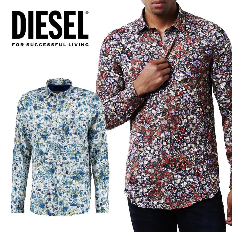 ディーゼル メンズ DIESEL 長袖花柄シャツ トップスS-NICO レーヨンシャツ 小花柄 フラワー