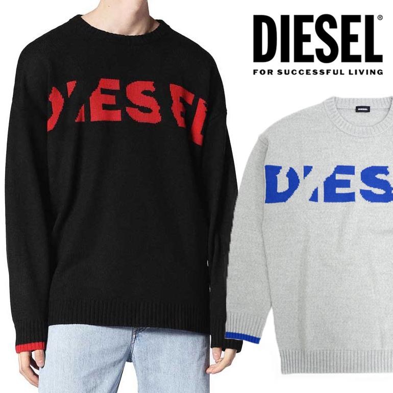 ディーゼル DIESEL メンズ ロゴ ニットK-LOGOXNEW KNIT セーター プルオーバーニット 長袖 丸首 クルーネックオーバーサイズ ドロップショルダー
