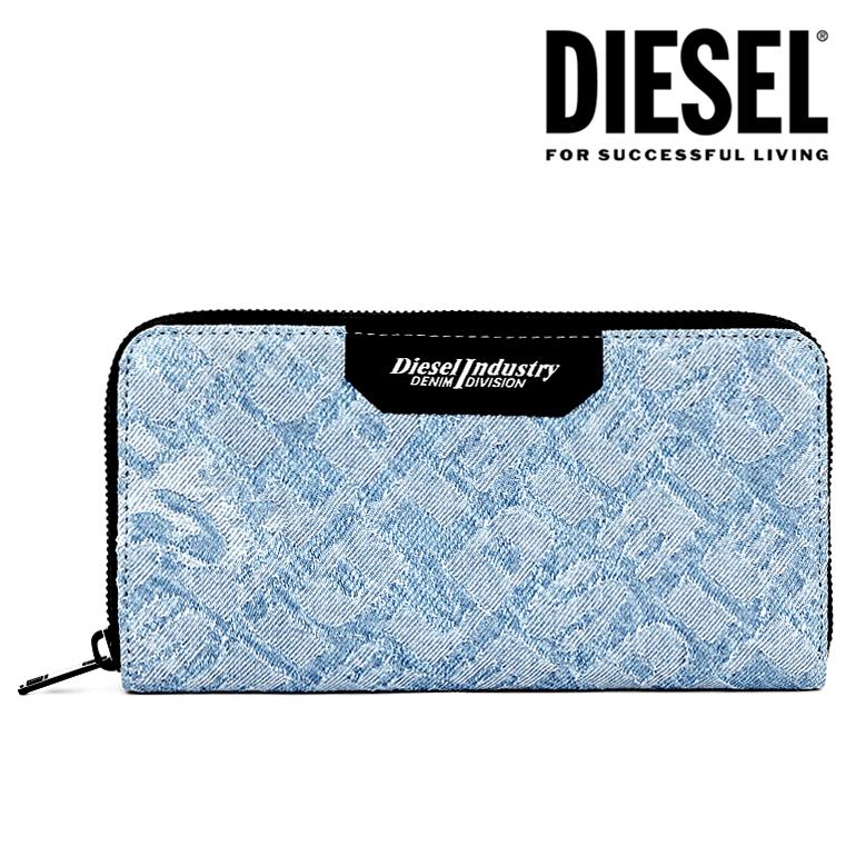 DIESEL ディーゼル ラウンドファスナー 財布 長財布 メンズ24 ZIP wallet X06140 P2514 H4865デニム 総ロゴ ロゴ ブルー インディゴ