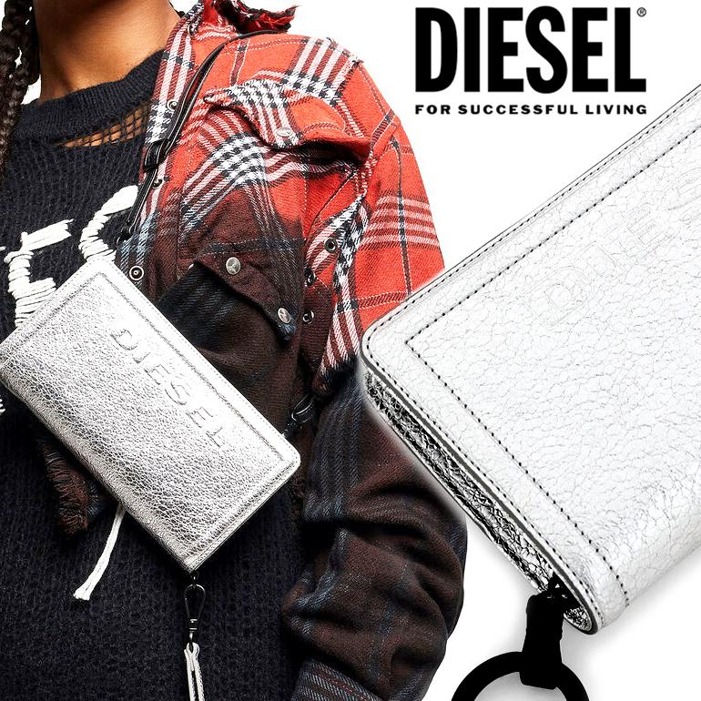 【訳あり品のため返品交換不可】DIESEL ディーゼルラウンドファスナー 財布 長財布GRANATO LCLS wallet DENISE X06469 P2655ロゴ メタリック レザー シルバーレディース