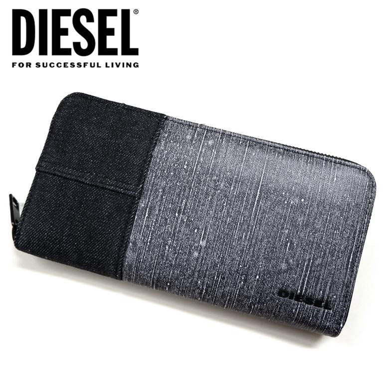 DIESEL ディーゼル ラウンドファスナー 財布 長財布 メンズ24 ZIP wallet X06608 PS778 H5868ロゴ デニム切り替え