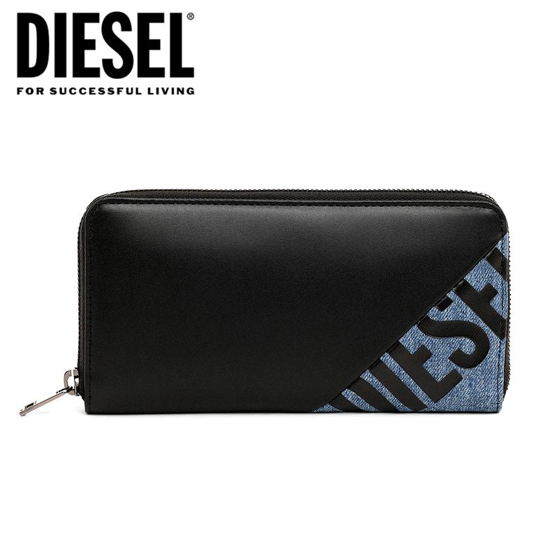 DIESEL ディーゼル ラウンドファスナー 財布 長財布 メンズ24 ZIP wallet TOLLE X06746 P3178 H1146カウレザー ミックスマテリアル デニム ロゴ シンプル