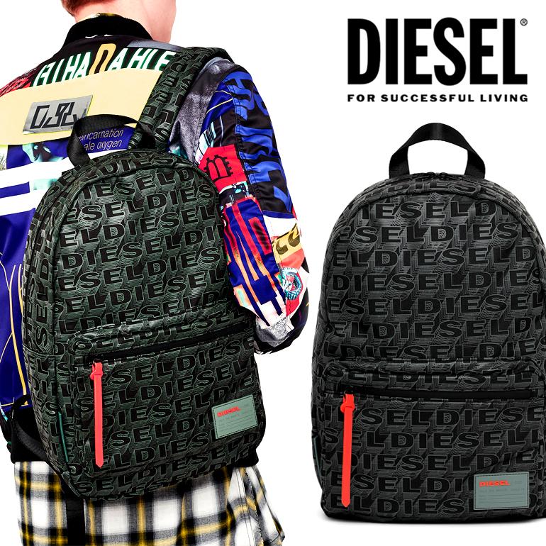 ディーゼル DIESEL バックパッグ バッグ リュックロゴ 総柄 かっこいい ブラック 黒F-DISCOVER BACK X04812 P1157 T8013軽量 クッション素材 ワンポイント デイリー