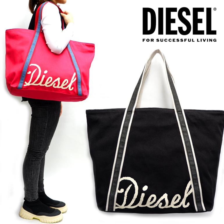 DIESEL ディーゼル キャンバス トートバッグX04887 PR012 CANVAS BAG JP L ロゴ マザーズバッグバッグ 鞄 黒 ブラック 赤 レッド かわいい