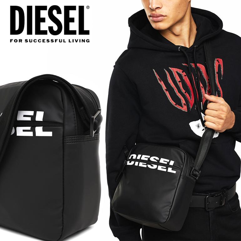 ディーゼル DIESEL 斜め掛けショルダーバッグ ショルダーX06591 P1705 T8013 DOUBLECROSS BOLDMESSAGEブラック 黒 スポーティー 光沢 クロスボディバッグポリエステルナイロンファブリック