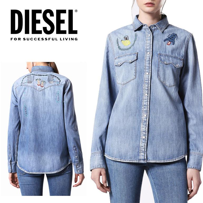 ディーゼル DIESEL レディース デニムシャツDE-LILLA デニム 刺繍 ウエスタンシャツ カジュアルシャツ かわいい かっこいい 海外ブランド インポート