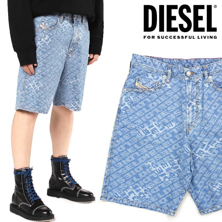 ディーゼル 短パン DIESEL メンズ ショートパンツ ハーフパンツ D-WILLOH 総柄 デニムパンツ大きいサイズ ビッグサイズ も有り即納 正規品 総ロゴ