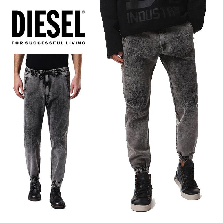 ディーゼル DIESEL スウェットパンツP-BLACK メンズ ブラックデニム クラッシュ リラックス スウェットデニム グレー かっこいい
