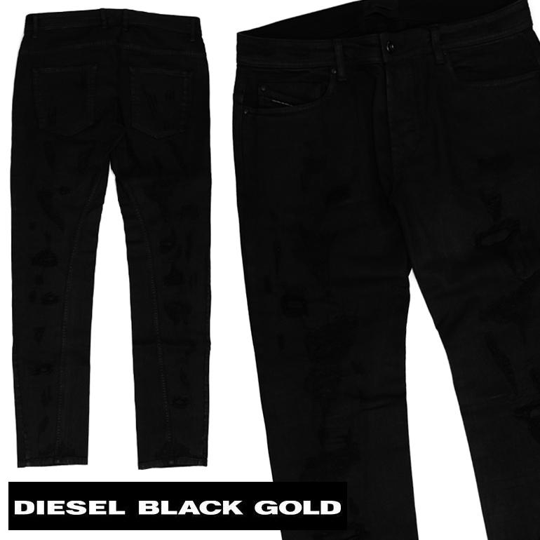 【プレゼント対象商品】ディーゼルブラックゴールド デニムDIESEL BLACK GOLD メンズ ジーンズ SUPERBIA-FS 00CRK2 BGNDKダメージ 加工 ボトムス かっこいい ブラック 黒イタリア製