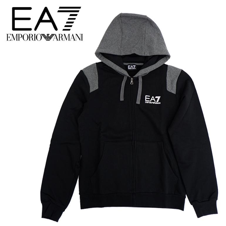 EMPORIO ARMANI エンポリオアルマーニ EA7ジップフード スウェット パーカー6YPMA1 PJ11Z 胸ロゴ プリントブラック/BLACK