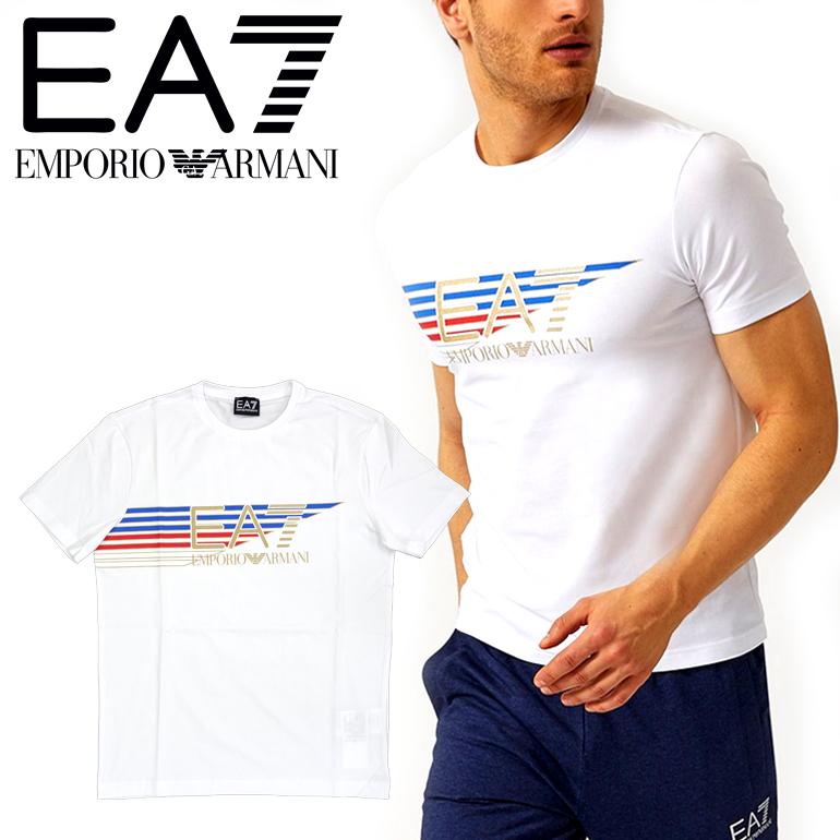 【残りLサイズのみ】EMPORIO ARMANI エンポリオアルマーニ EA7 メンズ Tシャツ ティーシャツUネック クルーネック 半袖 イーグルロゴ ブランドネーム ロゴ3ZPTA0 PJM5Z ホワイト WHITE 白 黒 シンプル