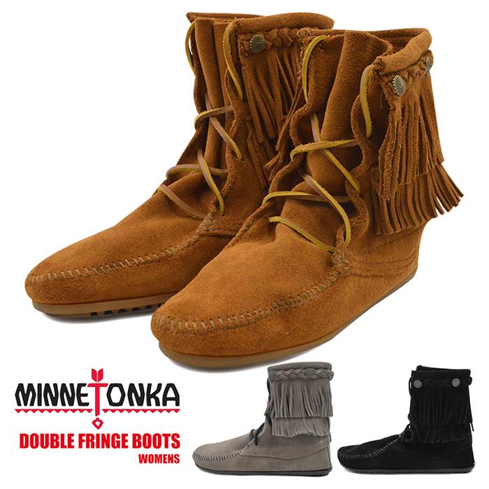 【サイズ交換1回無料】ミネトンカ ブーツ レディース ダブルフリンジ MINNETONKA DOUBLE FRINGE BOOT 靴 スウェード ブラック ブラウン