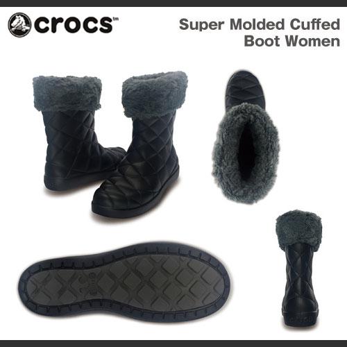 크로크스스파모르젯드카후드파후브트위멘즈 Crocs Super Molded Cuffed Puff Boot Women