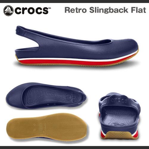 Crocs 复古吊带平的背面女性 Crocs 复古瘦削扁平女性