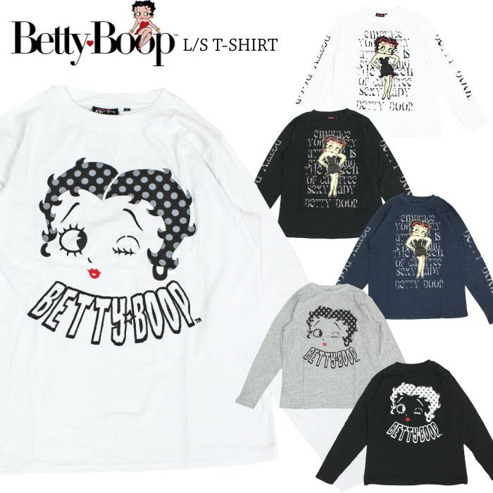 期間限定ポイント5倍 ベティブープ プリント 長袖Tシャツ Betty Boop 宅配便送料無料 ベティちゃん レディース TC キャラT 送料無料 新品 アメカジ メンズ SPBT-93245