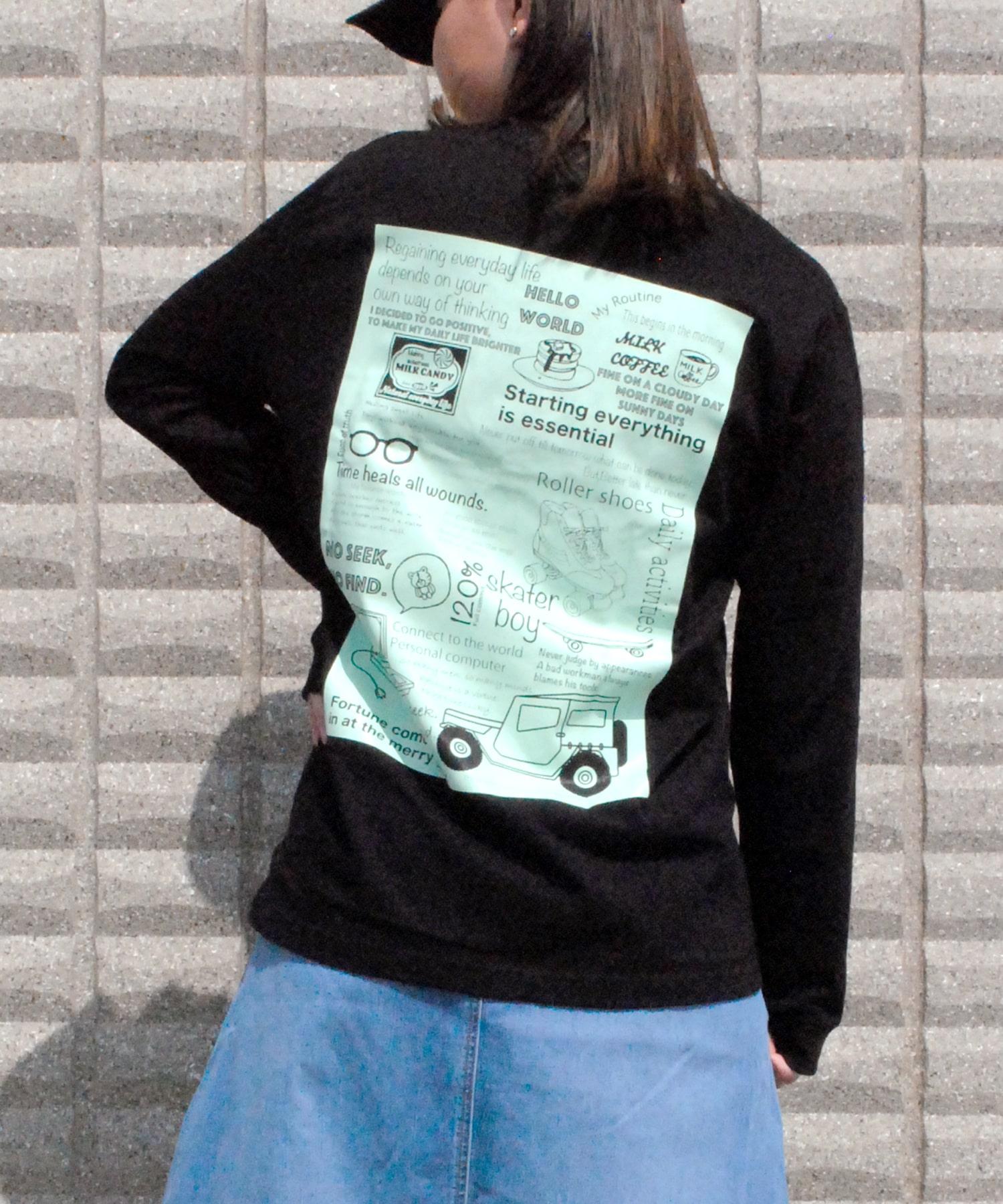 上等 3colors ロング スリーブ Tシャツ ロンT イラスト レディース 長袖Tシャツ プリントロンT 長袖 ロンティー 黒 白 海外輸入 おしゃれ 秋服 カットソー クルーネック ストリート ブランド