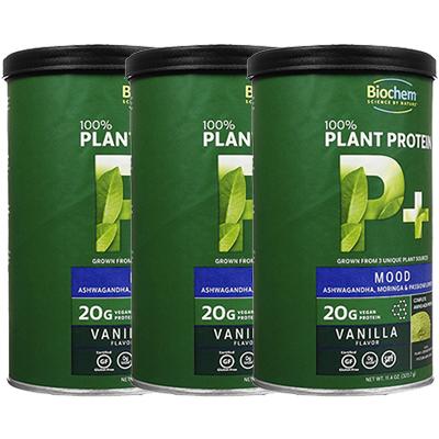 【海外直送:日時指定不可】プラントプロテインP+(ムード) 323.7g 3本 バイオケムBiochem Plant Protein P+ (Mood) 植物プロテイン100%:ヤマト国際便発送
