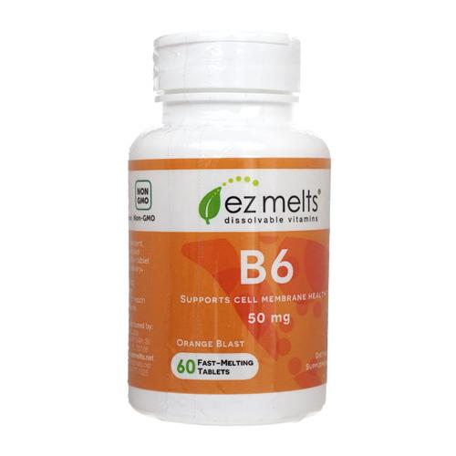 シュガーフリー 直送商品 安い 激安 プチプラ 高品質 グルテンフリー ヴィーガンの方もお召し上がりいただけます 海外通販 日時指定不可 EzMelts ビタミンB6 ヴィーガン:国際郵便書留発送 ビーガン Vitamin B6 50mg 60錠 1本
