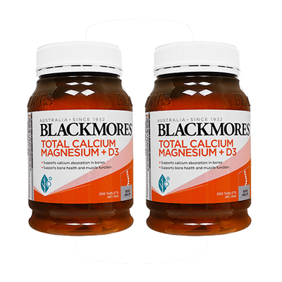 Blackmoresによる骨や筋肉の健康維持を目的としたサプリメント 海外通販 日時指定不可 新商品 トータルカルシウムマグネシウム+D3 200錠 1年保証 Calcium Magnesium+D3:ヤマト国際便発送 ブラックモアズBlackmores Total 2本