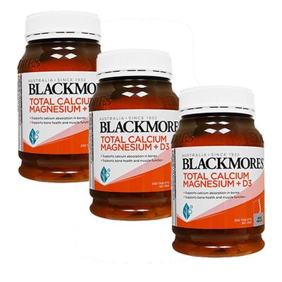 2020秋冬新作 Blackmoresによる骨や筋肉の健康維持を目的としたサプリメント 海外直送:日時指定不可 トータルカルシウムマグネシウム+D3 200錠 3本 ブラックモアズBlackmores Total 年間定番 Magnesium+D3:ヤマト国際便発送 Calcium