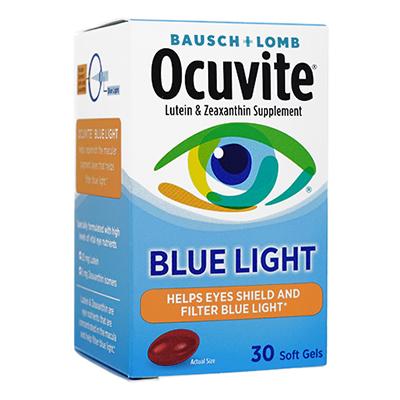 デジタル機器から発せられるブルーライトの影響から目を守りたい方に 海外通販 安値 日時指定不可 定番キャンバス Ocuvite オキュバイト ブルーライト Softgels国際郵便書留発送 1箱 Light Blue 30ソフトジェル