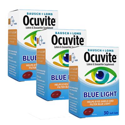 デジタル機器から発せられるブルーライトの影響から目を守りたい方に 海外通販 日時指定不可 Ocuvite オキュバイト ブルーライト 新作製品、世界最高品質人気! Softgels国際郵便書留発送 Blue 30ソフトジェル Light 驚きの値段 3箱セット