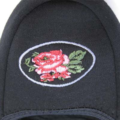Portable slippers ★ floral embroidered black odd shaped mail
