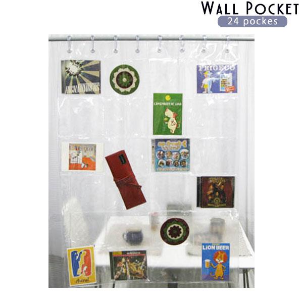 期間限定 ウォール ポケットで賢い収納 定番キャンバス 透明ウォールポケット 24ポケット レターフォルダービニール ウォールポケット 収納