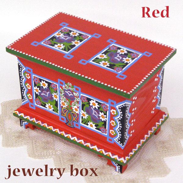 ポーランド フォークアート 木の小箱 木製 小物入れ 宝石箱 レッドハンドメイド彩色 東欧雑貨 ジュエリーボックス