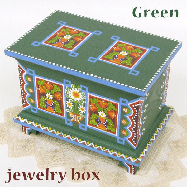 ポーランド フォークアート 木の小箱 木製 小物入れ 宝石箱 グリーンハンドメイド彩色 東欧雑貨 ジュエリーボックス